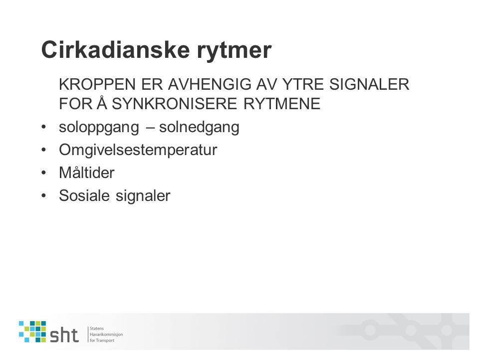 Cirkadianske rytmer KROPPEN ER AVHENGIG AV YTRE SIGNALER FOR Å SYNKRONISERE RYTMENE. soloppgang – solnedgang.