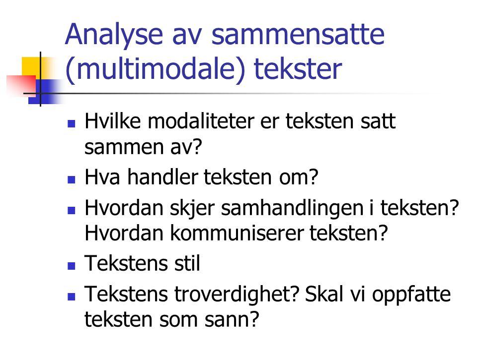 Analyse av sammensatte (multimodale) tekster