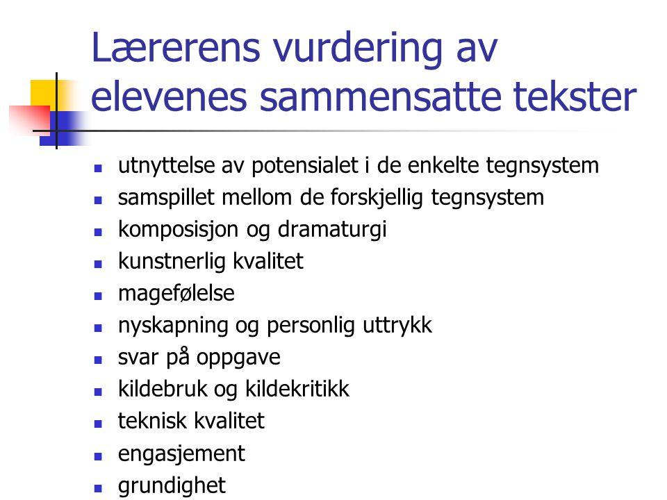 Lærerens vurdering av elevenes sammensatte tekster