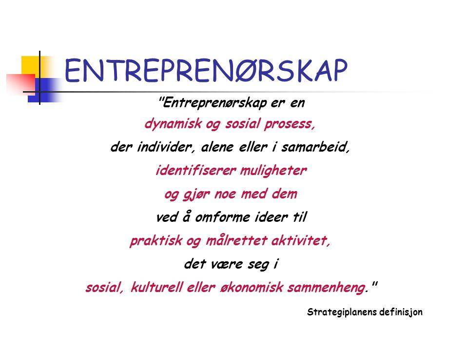 ENTREPRENØRSKAP Entreprenørskap er en dynamisk og sosial prosess,