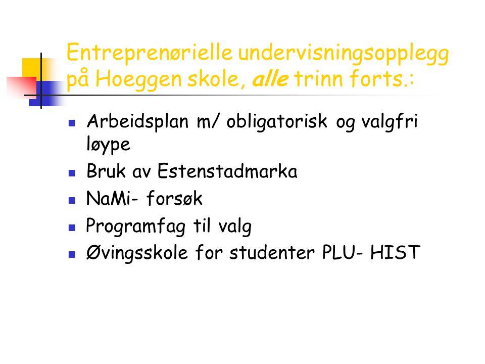 Entreprenørielle undervisningsopplegg på Hoeggen skole, alle trinn forts.: