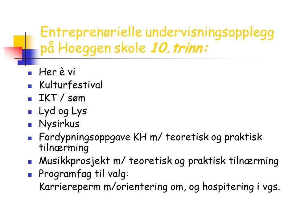 Entreprenørielle undervisningsopplegg på Hoeggen skole 10.trinn: