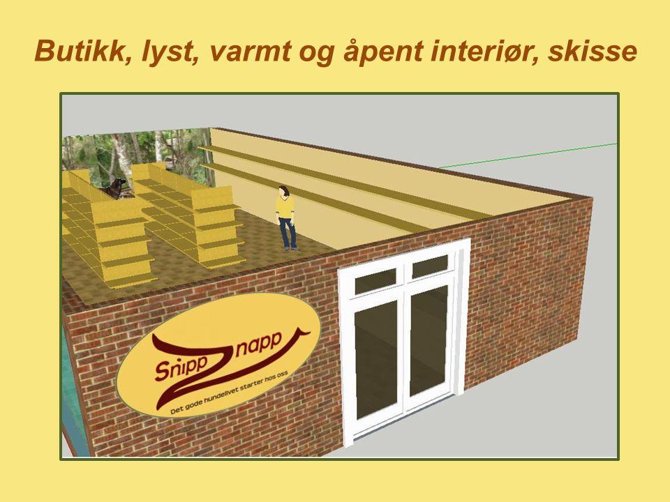 Butikk, lyst, varmt og åpent interiør, skisse