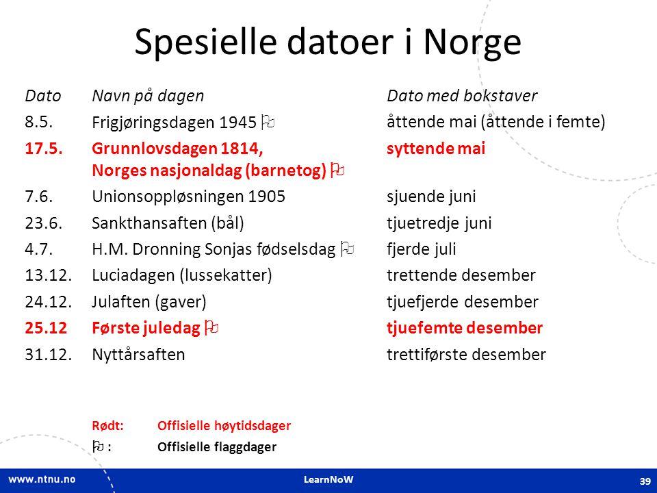 Spesielle datoer i Norge