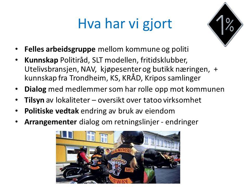 Hva har vi gjort Felles arbeidsgruppe mellom kommune og politi