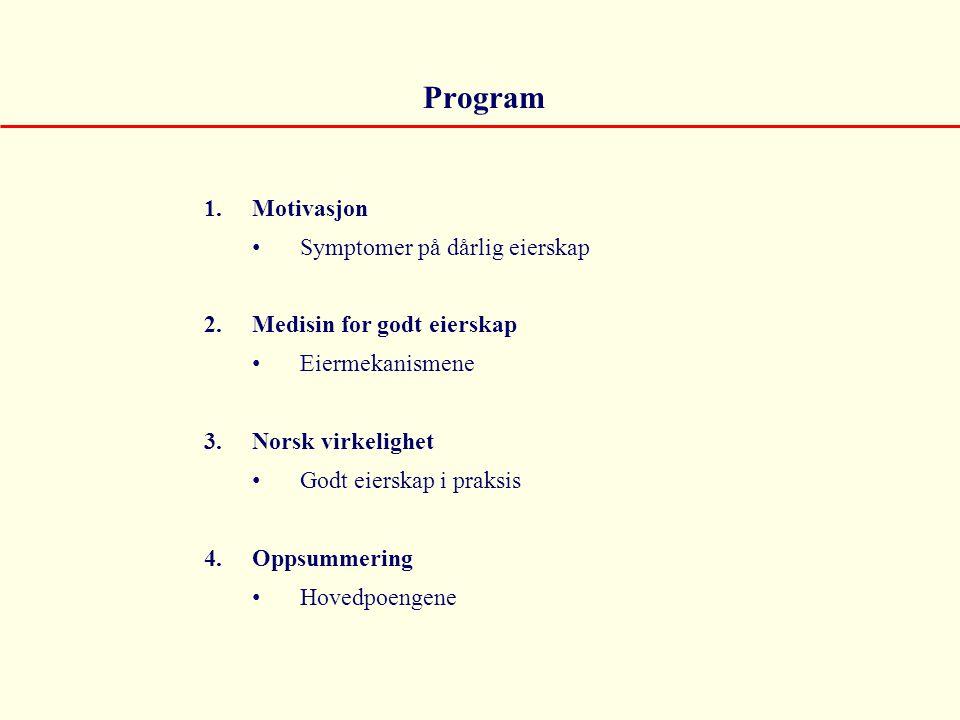 Program Motivasjon Symptomer på dårlig eierskap