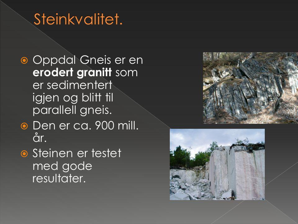 Steinkvalitet. Oppdal Gneis er en erodert granitt som er sedimentert igjen og blitt til parallell gneis.