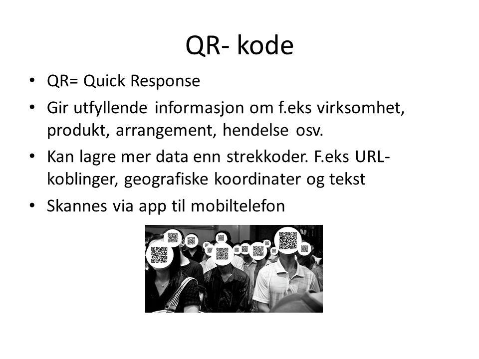 QR- kode QR= Quick Response