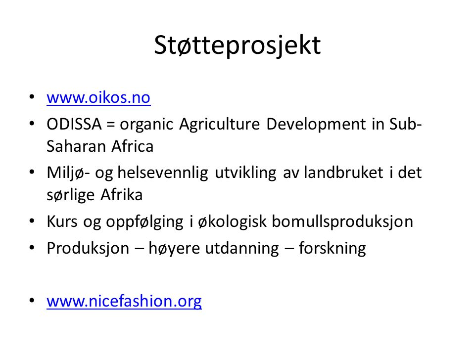 Støtteprosjekt www.oikos.no