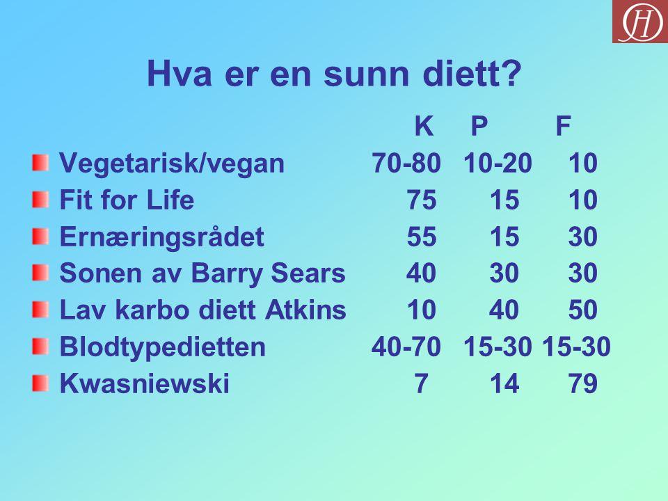 Hva er en sunn diett K P F Vegetarisk/vegan 70-80 10-20 10