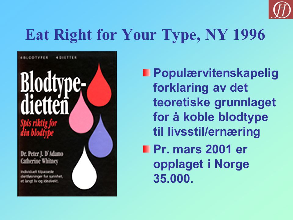 Eat Right for Your Type, NY 1996