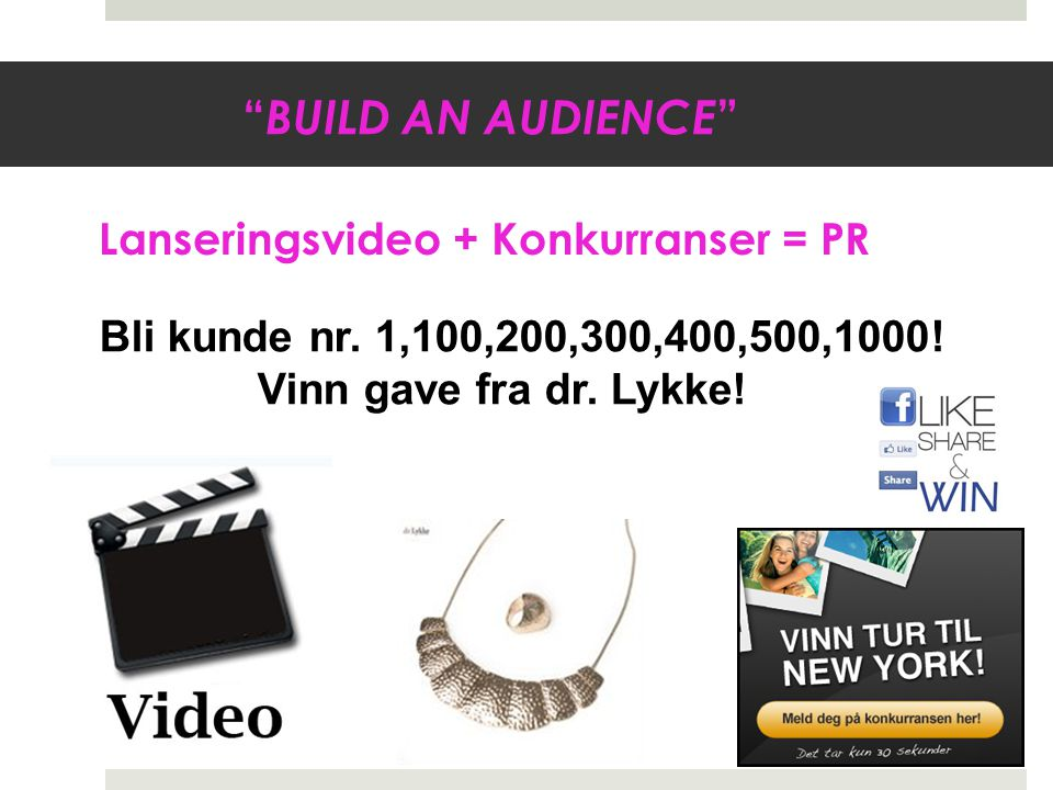 BUILD AN AUDIENCE Lanseringsvideo + Konkurranser = PR