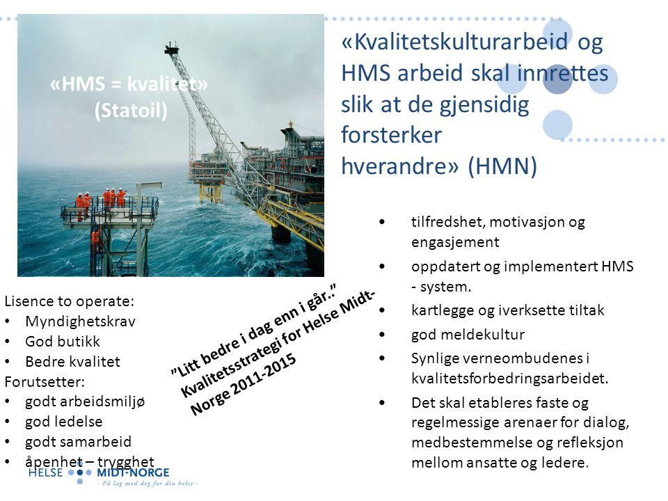 «Kvalitetskulturarbeid og HMS arbeid skal innrettes slik at de gjensidig forsterker hverandre» (HMN)