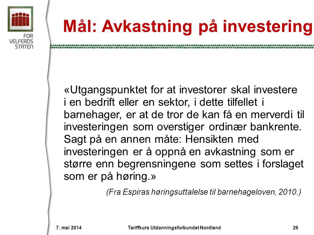 Mål: Avkastning på investering