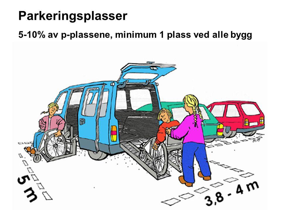 Parkeringsplasser 5-10% av p-plassene, minimum 1 plass ved alle bygg