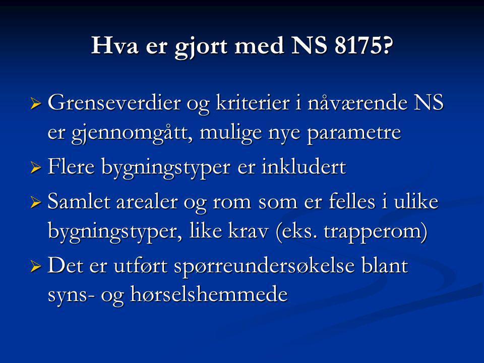 Hva er gjort med NS 8175 Grenseverdier og kriterier i nåværende NS er gjennomgått, mulige nye parametre.