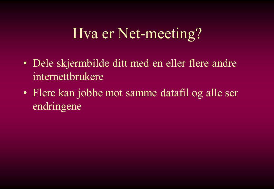 Hva er Net-meeting. Dele skjermbilde ditt med en eller flere andre internettbrukere.