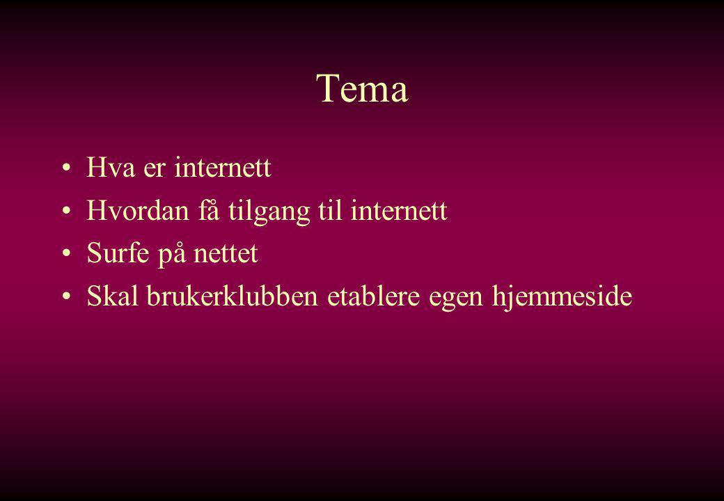 Tema Hva er internett Hvordan få tilgang til internett Surfe på nettet