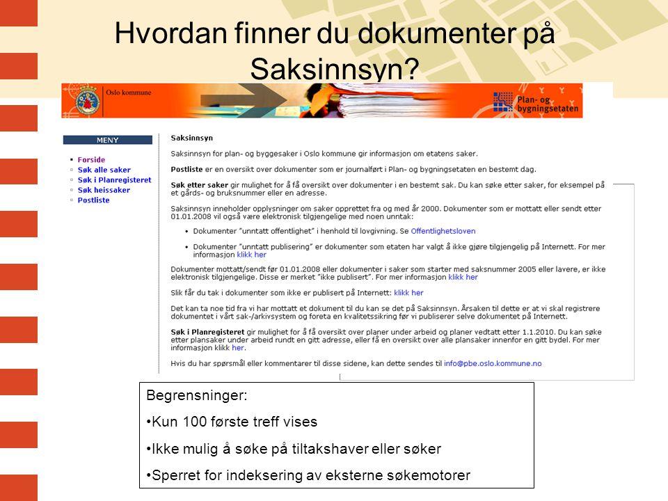 Hvordan finner du dokumenter på Saksinnsyn