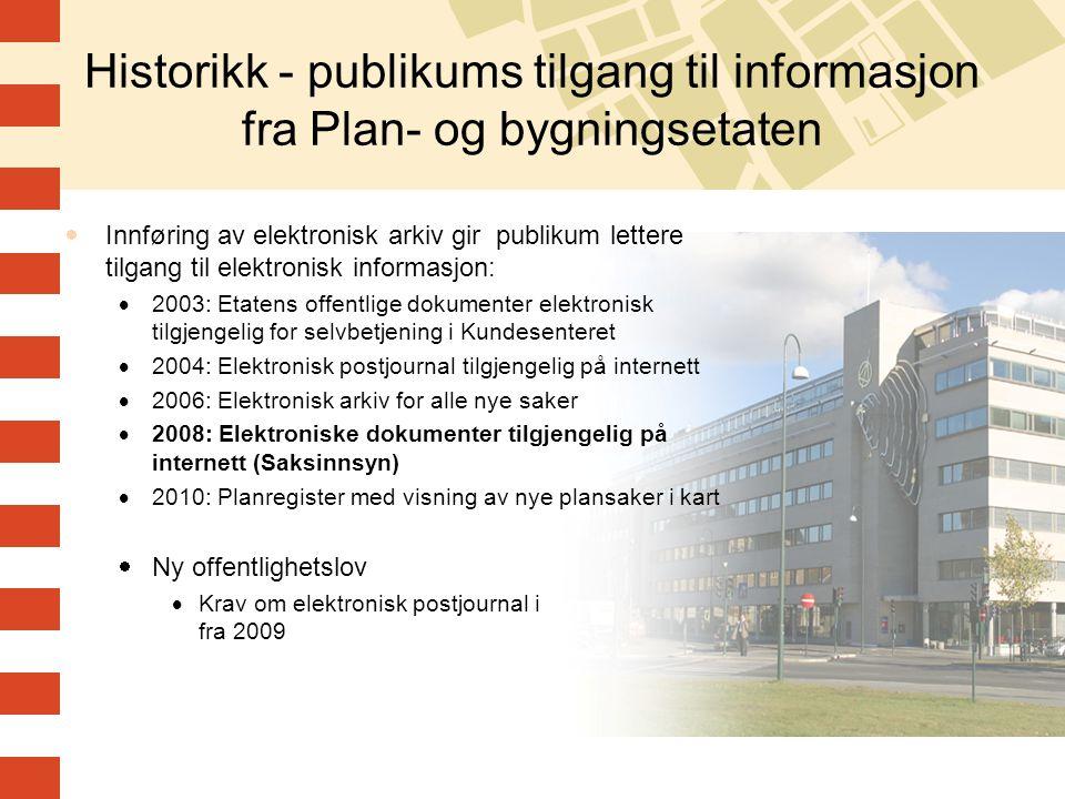 Historikk - publikums tilgang til informasjon fra Plan- og bygningsetaten