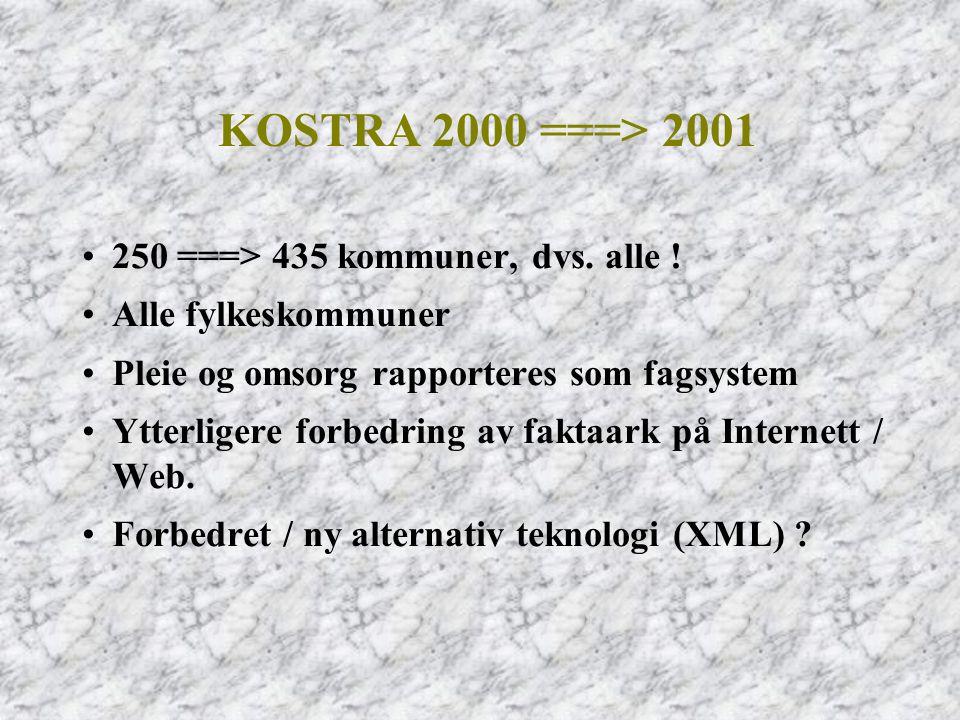 KOSTRA 2000 ===> 2001 250 ===> 435 kommuner, dvs. alle !