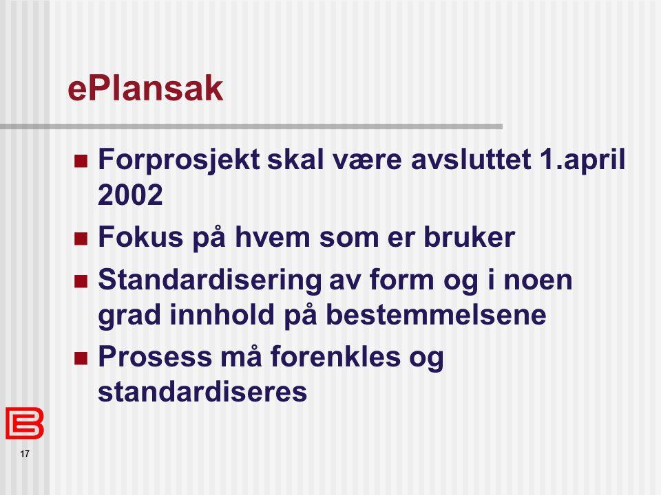 ePlansak Forprosjekt skal være avsluttet 1.april 2002