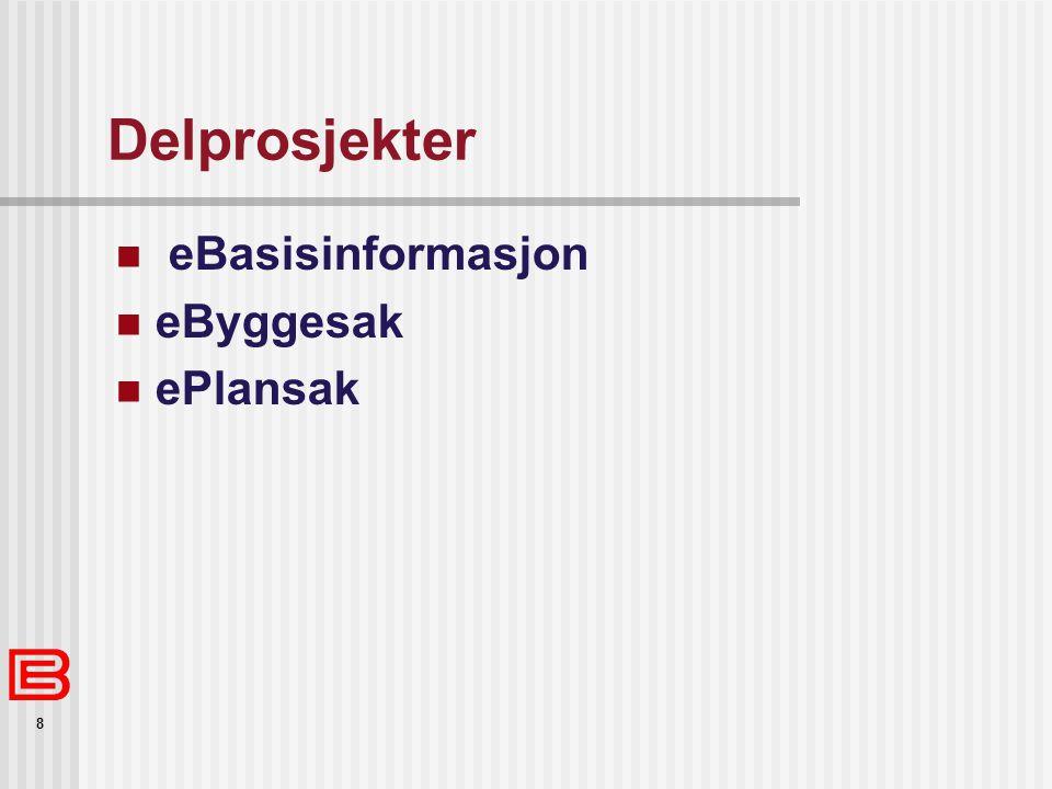 Delprosjekter eBasisinformasjon eByggesak ePlansak