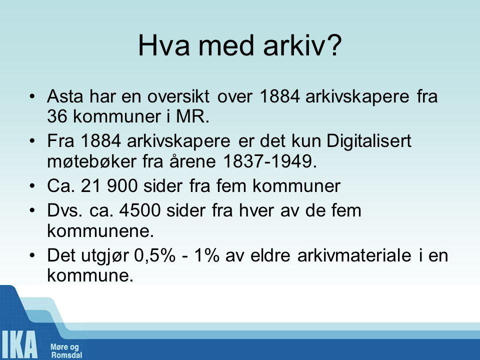 Hva med arkiv Asta har en oversikt over 1884 arkivskapere fra 36 kommuner i MR.