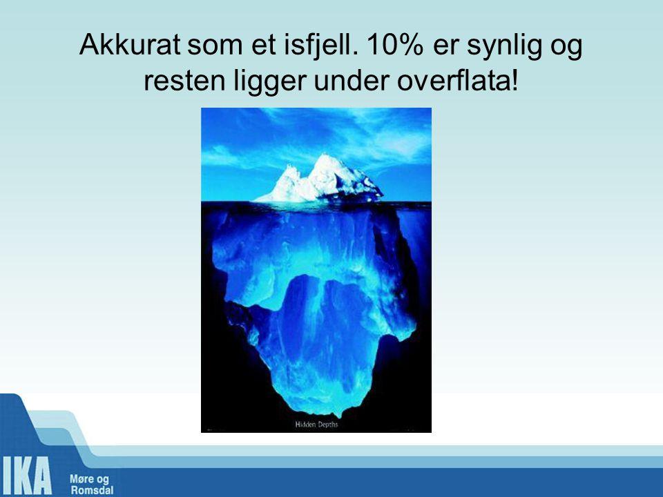 Akkurat som et isfjell. 10% er synlig og resten ligger under overflata!