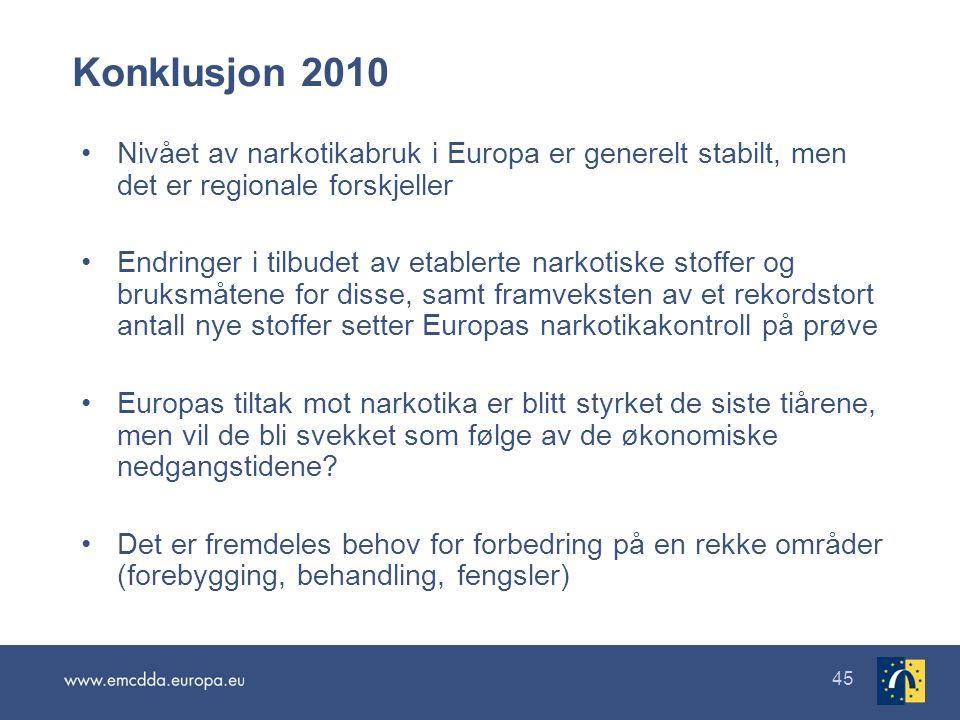 Konklusjon 2010 Nivået av narkotikabruk i Europa er generelt stabilt, men det er regionale forskjeller.