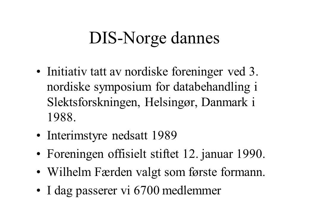 DIS-Norge dannes Initiativ tatt av nordiske foreninger ved 3. nordiske symposium for databehandling i Slektsforskningen, Helsingør, Danmark i 1988.