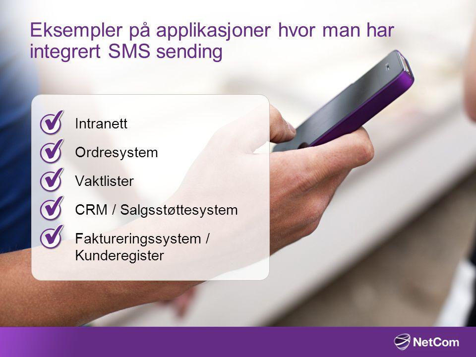 Eksempler på applikasjoner hvor man har integrert SMS sending