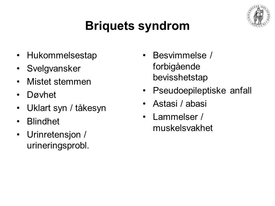 Briquets syndrom Hukommelsestap Svelgvansker Mistet stemmen Døvhet