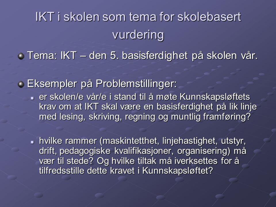 IKT i skolen som tema for skolebasert vurdering