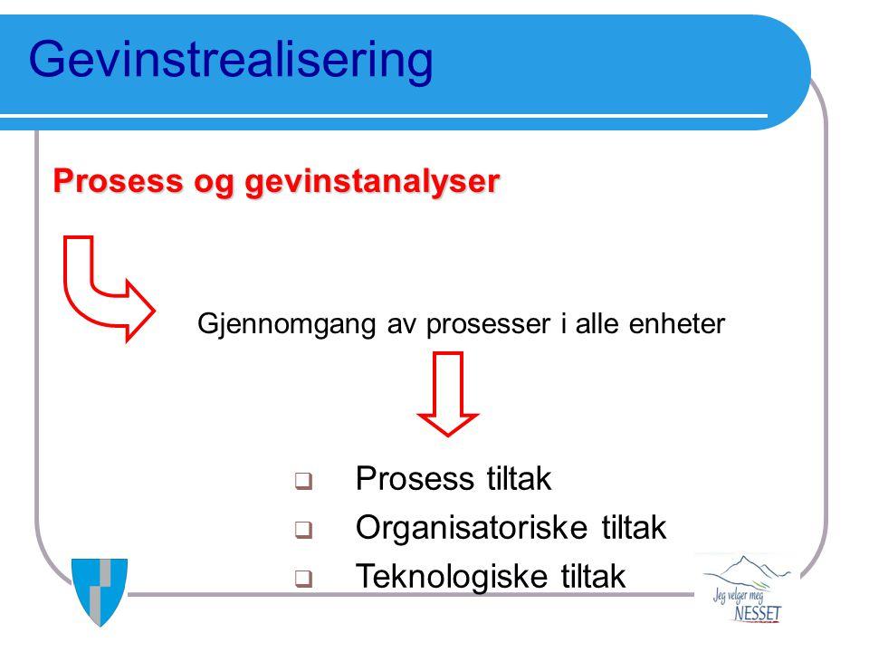 Gevinstrealisering Prosess og gevinstanalyser Prosess tiltak