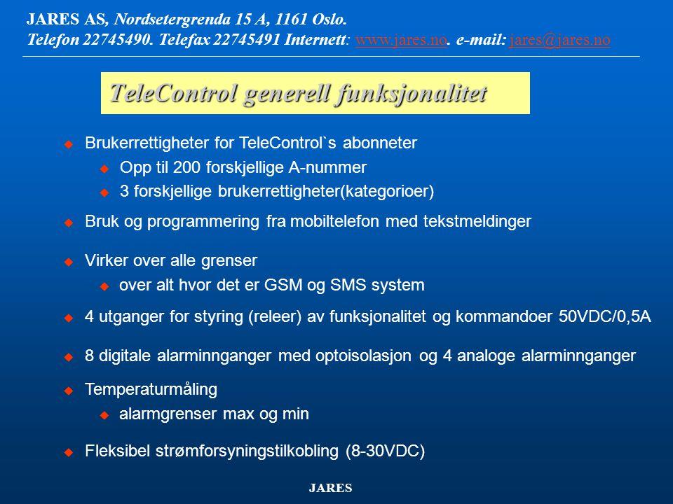 TeleControl generell funksjonalitet