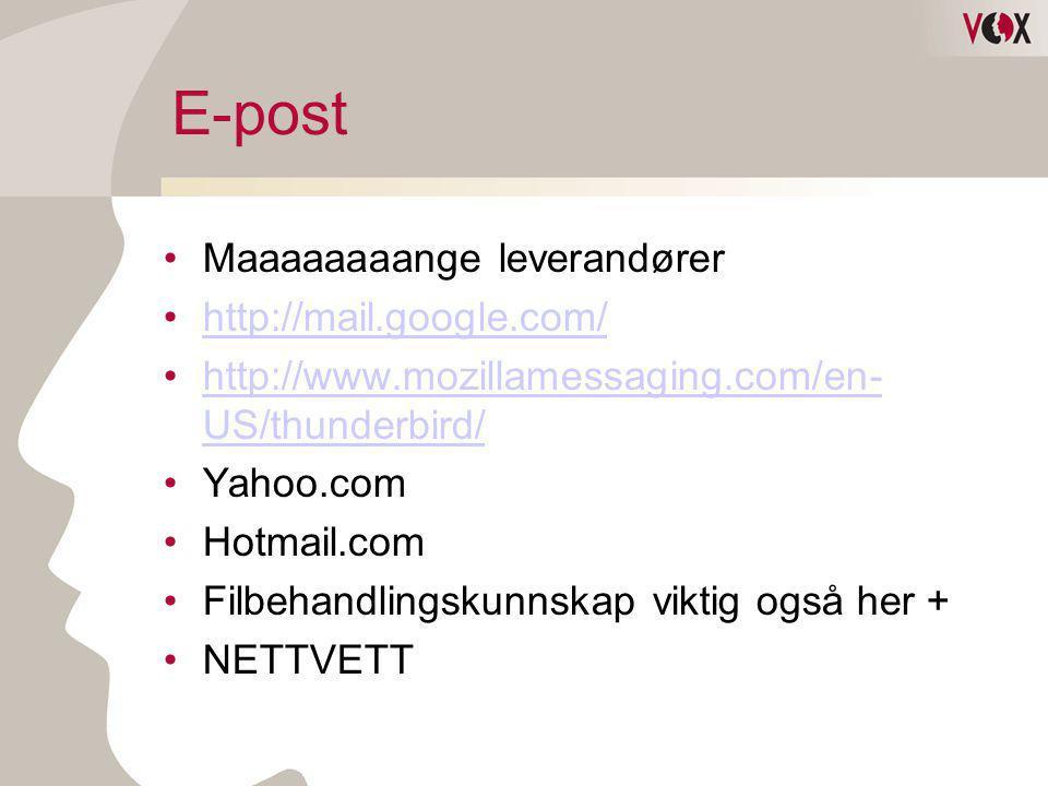 E-post Maaaaaaaange leverandører http://mail.google.com/