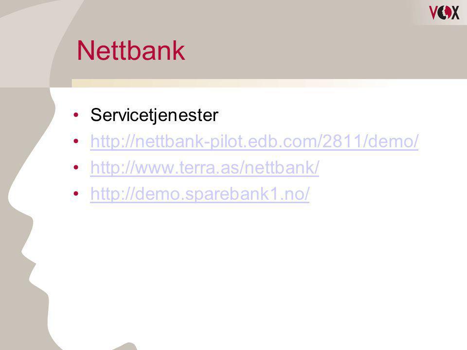 Nettbank Servicetjenester http://nettbank-pilot.edb.com/2811/demo/
