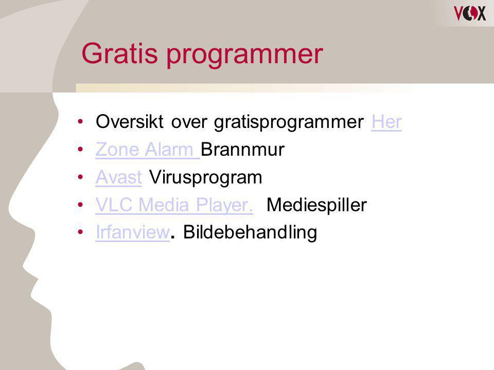 Gratis programmer Oversikt over gratisprogrammer Her