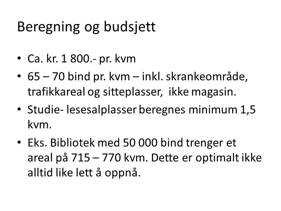 Beregning og budsjett Ca. kr. 1 800.- pr. kvm