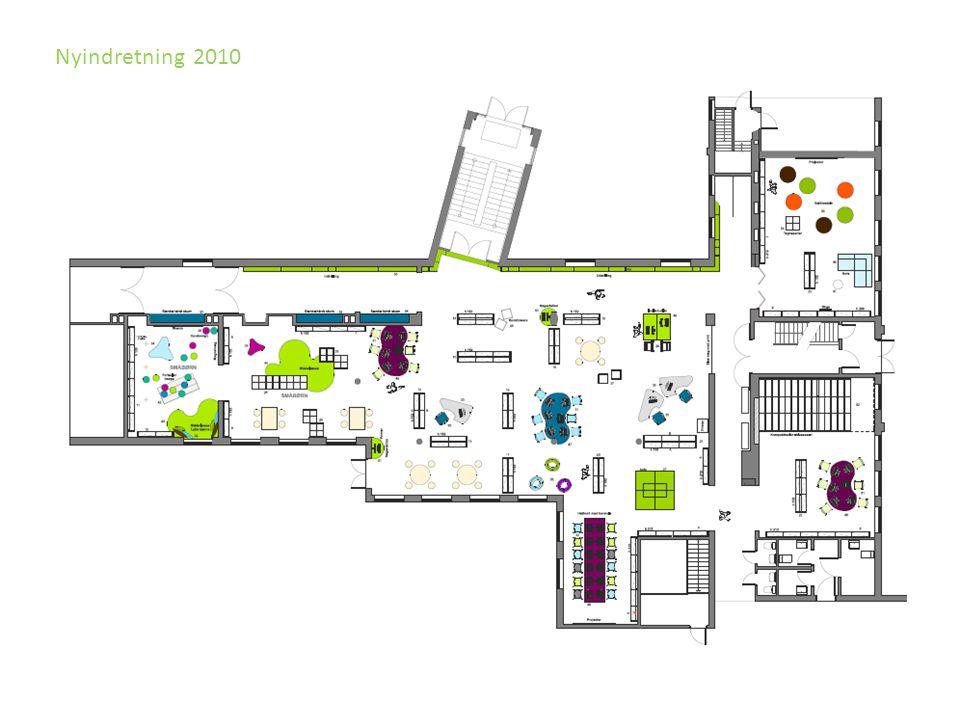 Nyindretning 2010 Åpnes opp og biblioteket intergreres bedde i bygget