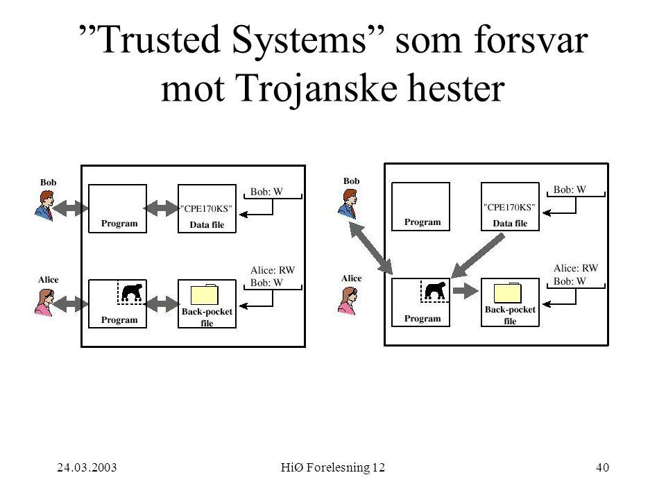 Trusted Systems som forsvar mot Trojanske hester