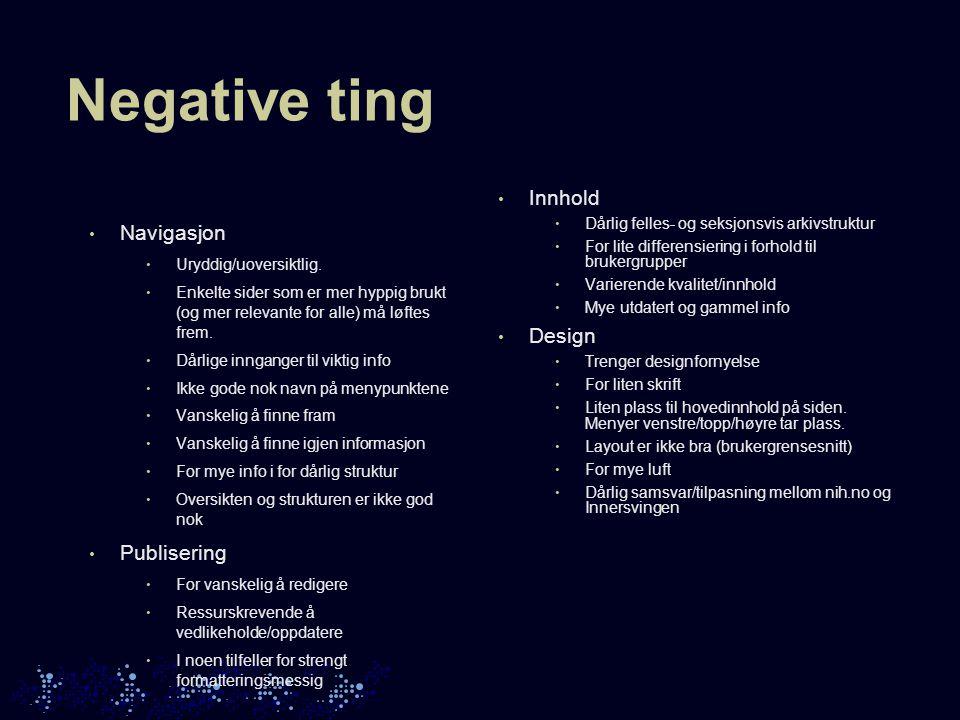 Negative ting forts. Teknisk Forsida Daglig arbeidsverktøy