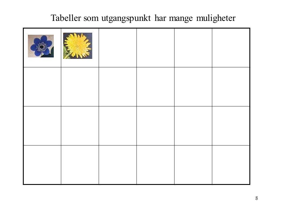 Tabeller som utgangspunkt har mange muligheter