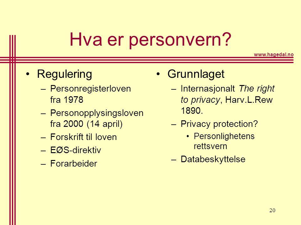 Hva er personvern Regulering Grunnlaget Personregisterloven fra 1978
