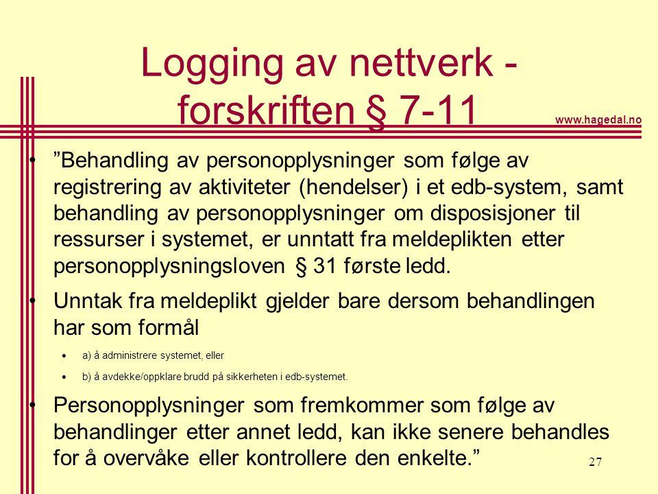Logging av nettverk - forskriften § 7-11