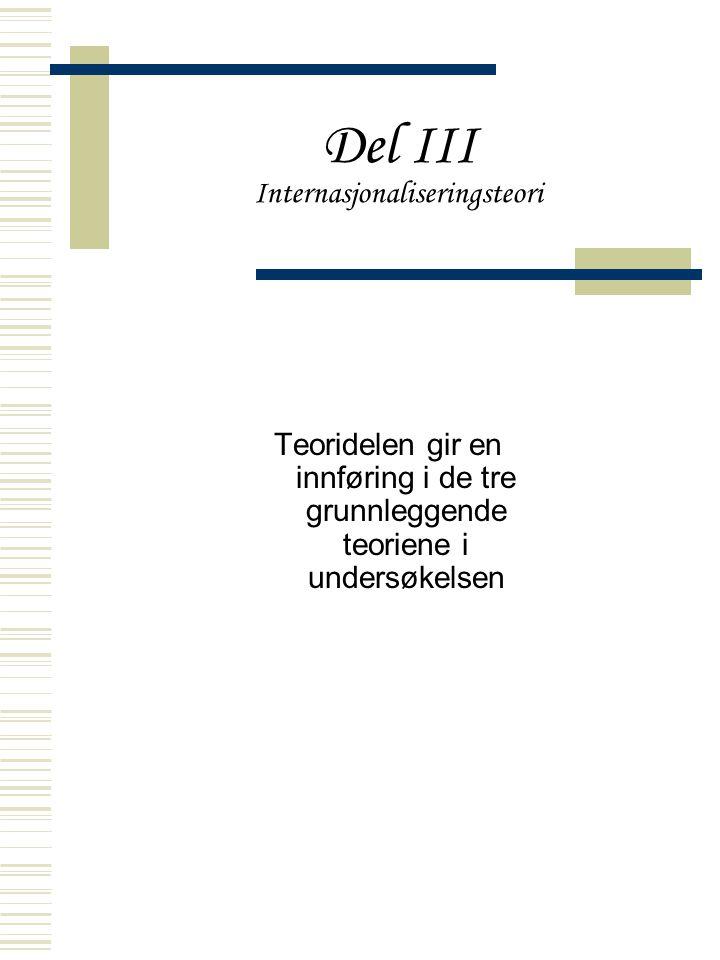 Del III Internasjonaliseringsteori