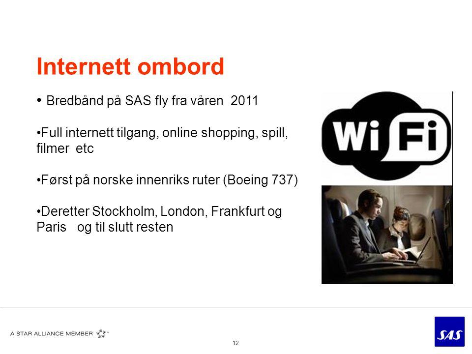 Internett ombord Bredbånd på SAS fly fra våren 2011