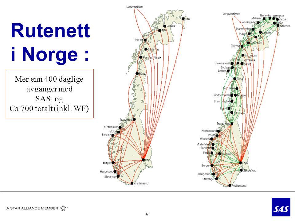 Rutenett i Norge : Mer enn 400 daglige avganger med SAS og