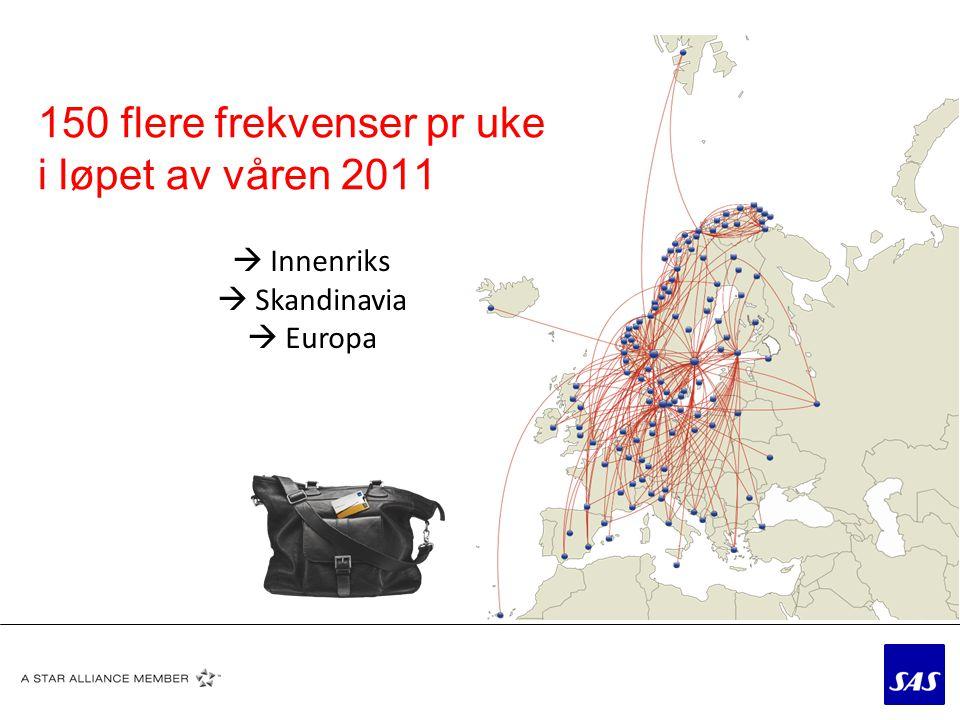 150 flere frekvenser pr uke i løpet av våren 2011